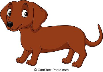 Cartoon dachshund dog isolated on white background