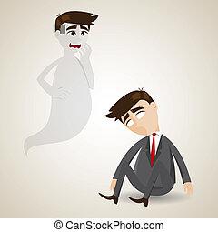 cartoon dead businessman and his soul