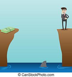 cartoon desperate businessman looking at money