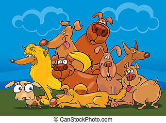 cartoon dogs group