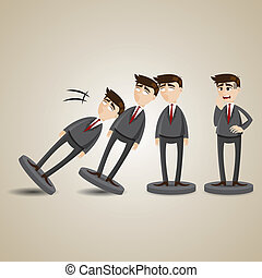 illustration of cartoon domino businessman figure fall down in collapse concept