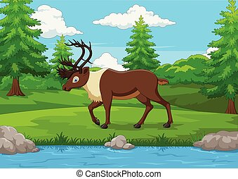 Cartoon elk in the forest