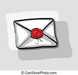 Illustration of cartoon envelope with wax stamp