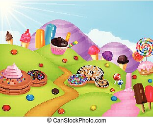 Cartoon fantasy sweet land