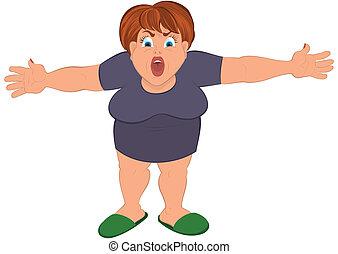 Cartoon fat woman with open hands