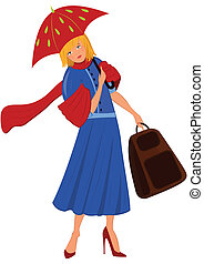 Illustration of cartoon female character isolated on white. Cartoon woman in blue coat with red umbrella.