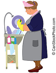 Cartoon  woman in yellow gloves doing dishes