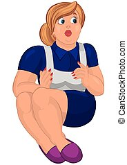 Cartoon young fat woman in apron and slippers sitting