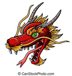 Cartoon fierce red dragon head mascot