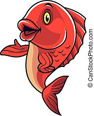 Cartoon fish mascot waving