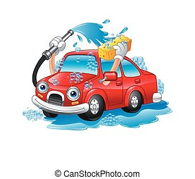 Cartoon funny car washing