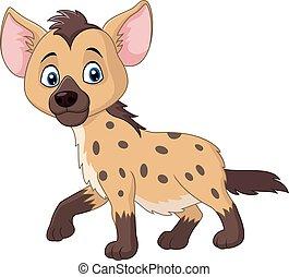 Cartoon funny hyena walking