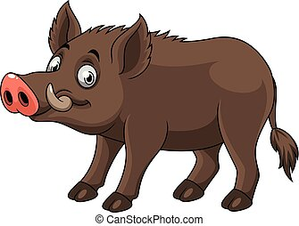 Cartoon funny wild boar