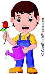 Cartoon gardener with watering can