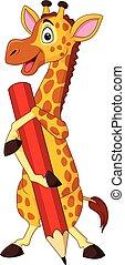Cartoon giraffe holding pencil