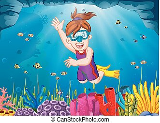 Cartoon girl diving in the sea