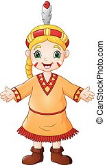 Cartoon girl native american indian with traditional costume