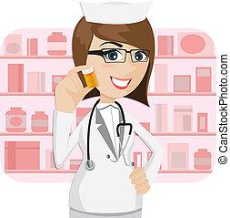 cartoon girl pharmacist showing medicine bottle - ...