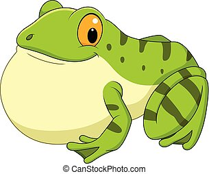 Cartoon green frog croaking