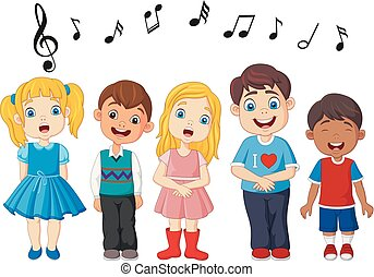Cartoon group of children singing in the school choir - ...