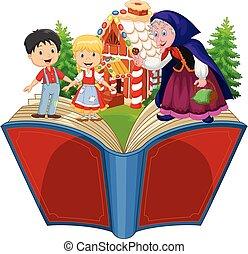 Illustration of Cartoon Hansel and Gretel