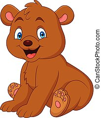 Cartoon happy baby bear