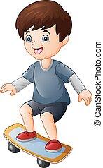 Cartoon happy boy playing skateboard