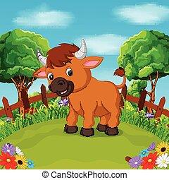 Cartoon happy bull smile in the farm