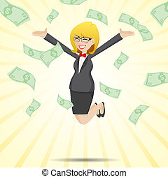illustration of cartoon happy businesswoman jumping with money cash in financial concept