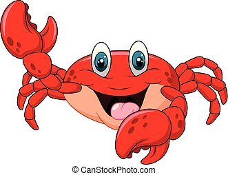 Cartoon happy crab isolated on white background