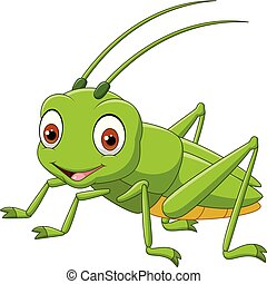 illustration of Cartoon happy grasshopper