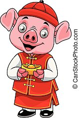 Cartoon happy little pig with traditional Chinese costume holding golden ingot