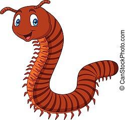 Cartoon happy millipedes