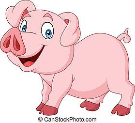 Cartoon happy pig cartoon isolated on white background -...