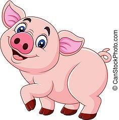 Cartoon happy pig isolated on white background