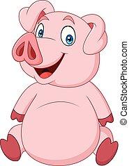 Cartoon happy pig sitting