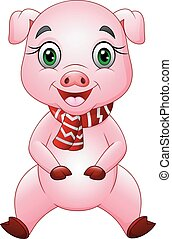 Cartoon happy pig wearing a red scarf