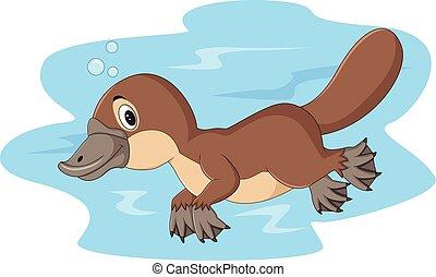 Cartoon happy platypus swimming - Illustration of Cartoon ...