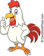 Cartoon happy rooster giving thumbs up