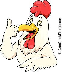 Cartoon happy rooster with showing thumbs up