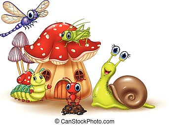Illustration of cartoon happy small animals