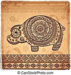 illustration of Cartoon Hippopotamus - illustration of...
