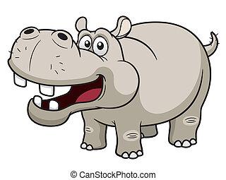 Hippopotamus - illustration of Cartoon Hippopotamus