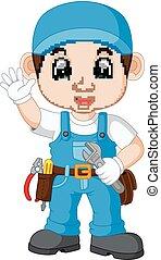 Cartoon illustration of a mechanic