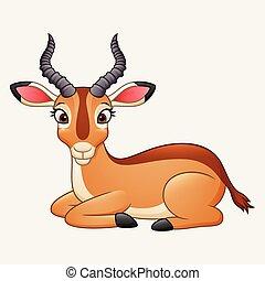 Cartoon impala isolated on white background - illustration...
