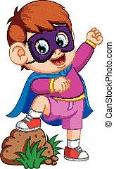 Cartoon kid playing a superhero
