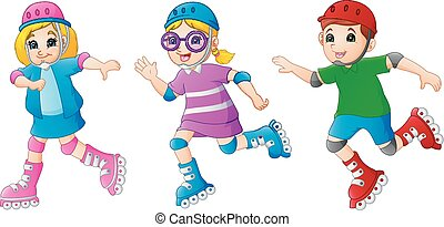Cartoon kid playing Roller Skates