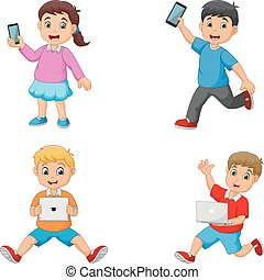 Cartoon kids holding tablet phone and laptop