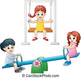 Cartoon kids playing seesaw and swing