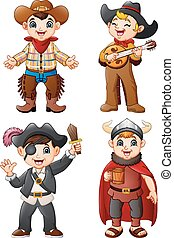 Cartoon kids wearing a different costume
